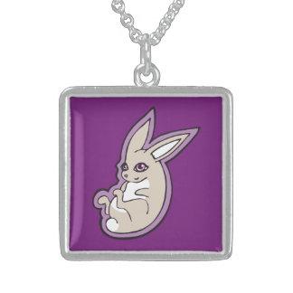 Happy Lavender Rabbit Pink Eyes Ink Drawing Design Square Pendant Necklace