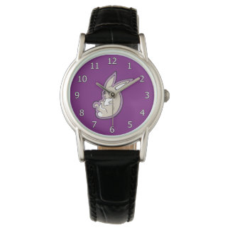 Happy Lavender Rabbit Pink Eyes Ink Drawing Design Watch