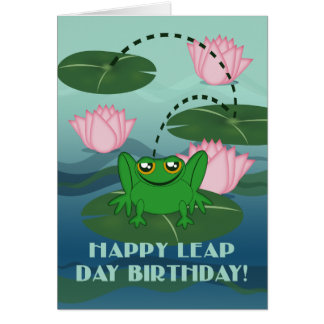 Happy Leap Day Birthday! Leaping Frog on Lily Pad Greeting Card