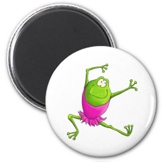 Happy Leaping Ballet Frog 6 Cm Round Magnet