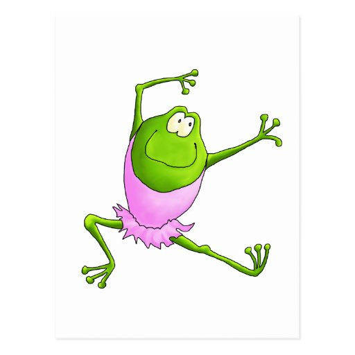 Happy Leaping Ballet Frog Post Cards