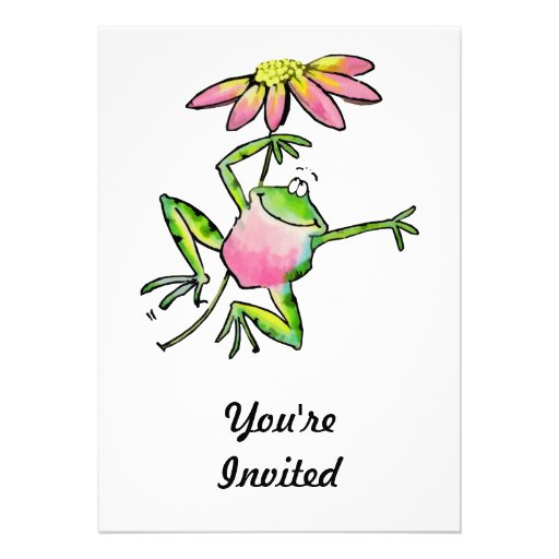 Happy Leaping Frog with Pink Daisy Custom Invitations