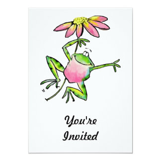 "Happy Leaping Frog with Pink Daisy 5"" X 7"" Invitation Card"