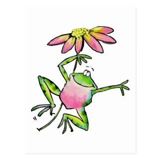 Happy Leaping Frog with Pink Daisy Postcard