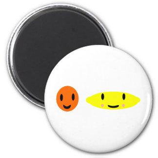 Happy Lemon and Orange 2 6 Cm Round Magnet