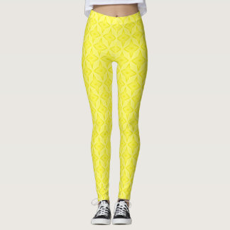 Happy Lemon Sunshine Satin Pastel Stars Leggings
