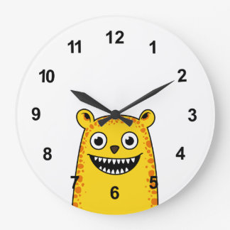Happy leopard large clock