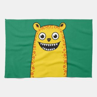 Happy leopard tea towel