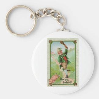 Happy Leprechaun Basic Round Button Key Ring