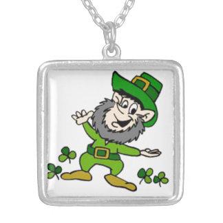 Happy Leprechaun Silver Plated Necklace