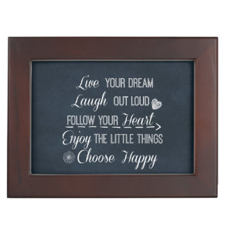 Happy Life Rules Quotes Affirmations Keepsake Box