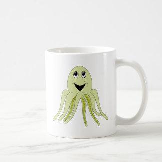 Happy Light Green Cartoon Octopus Coffee Mug