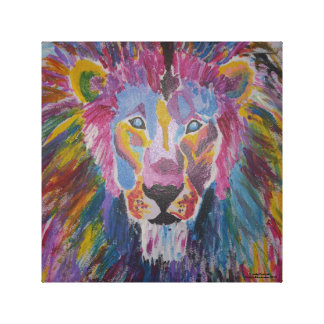 Happy Lion Canvas Gallery Wrapped Canvas