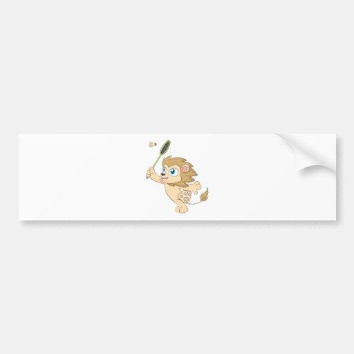 Happy Lion Playing Badminton Bumper Sticker