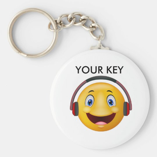 Happy listening music basic round button key ring