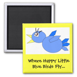 Happy little blue birds magnet