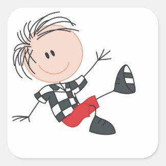 Happy Little Boy Square Sticker