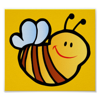 HAPPY LITTLE BUMBLEBEE BEE CARTOON CUTE HONEY INSE POSTERS