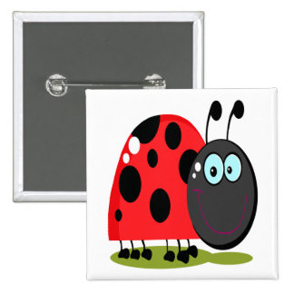 happy little lady bug 15 cm square badge