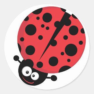 Happy Little Ladybug Classic Round Sticker
