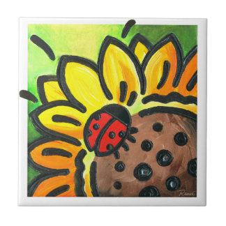 Happy LIttle Ladybug Kitchen Tile by Reneé Womack