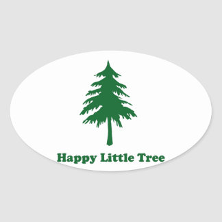 Happy Little Tree Oval Sticker