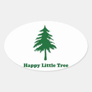 Happy Little Tree Oval Stickers
