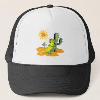 happy lizard in desert trucker hat