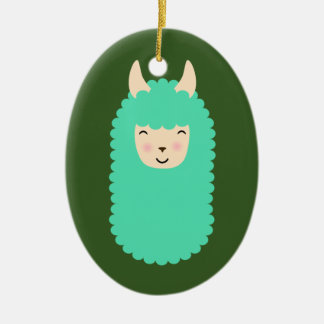Happy Llama Emoji Christmas Ornament
