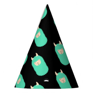 Happy Llama Emoji Patterned Party Hat