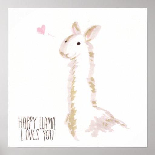 Happy Llama Loves You Poster
