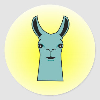 Happy Llama Teal Drawing Classic Round Sticker