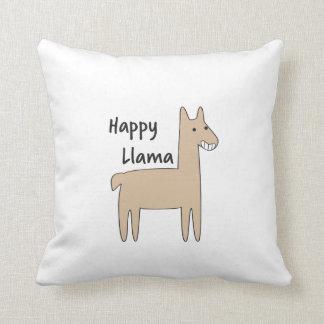 Happy Llama Throw Pillow