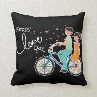 Happy Love Valentine's Day|Cute Couple on Bike Cushion