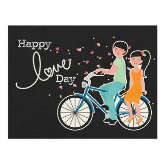 Happy Love Valentine's Day|Cute Couple on Bike Postcard