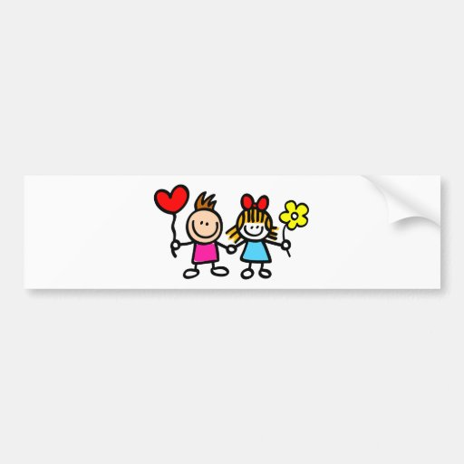 happy lover children with heart shape balloon bumper stickers
