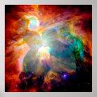 Happy lovers in nebula. poster