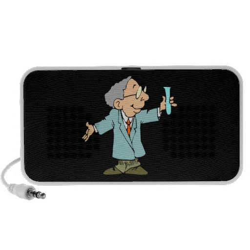 Happy Mad Scientist Cartoon Portable Speaker