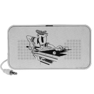 Happy Male Pool Player Doodle Travelling Speaker