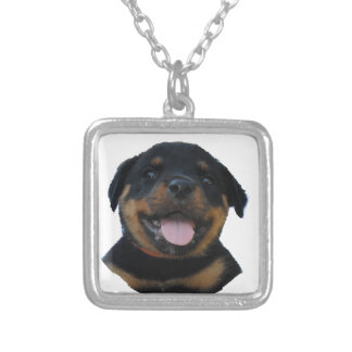 Happy Male Rottweiler Puppy Silver Plated Necklace