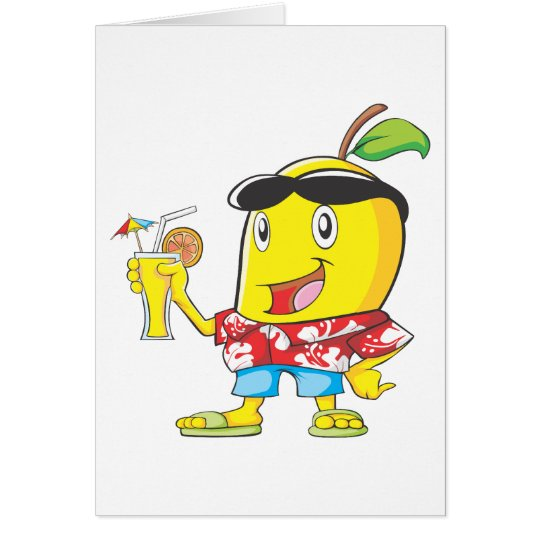 Happy Mango Fruit in Beach Attire Card