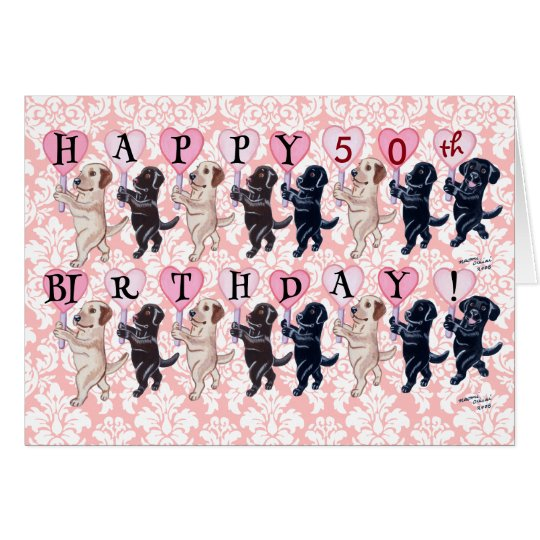 Happy Marching Labradors Birthday Card