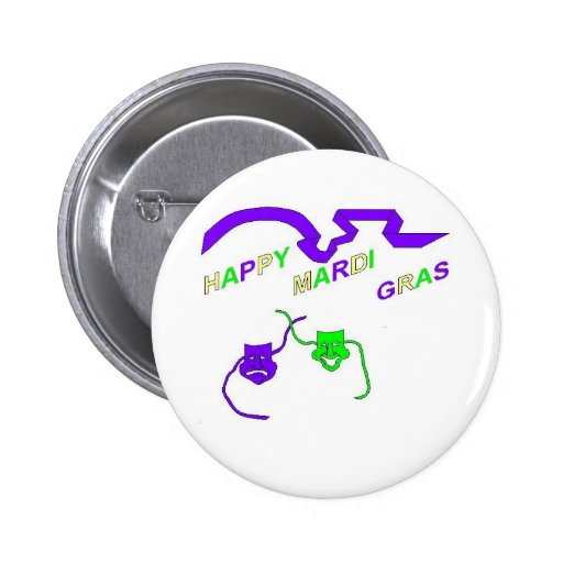 Happy Mardi Gras Pinback Buttons