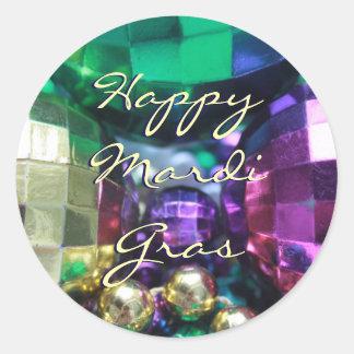 Happy Mardi Gras Bead Throws Customized Stickers
