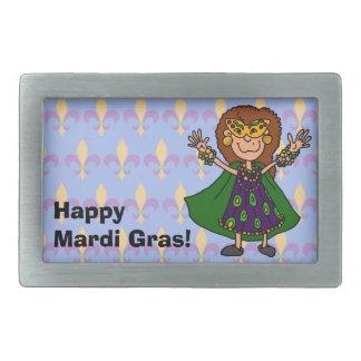 Happy Mardi Gras! Rectangular Belt Buckles