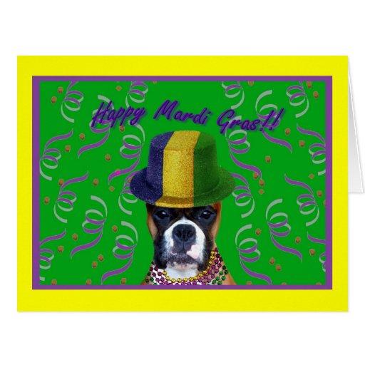 Happy Mardi Gras Boxer big greeting card