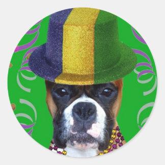 Happy Mardi Gras Boxer stickers