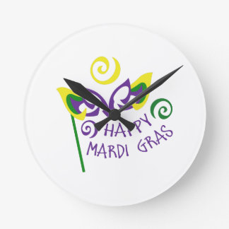 HAPPY MARDI GRAS ROUND WALL CLOCKS
