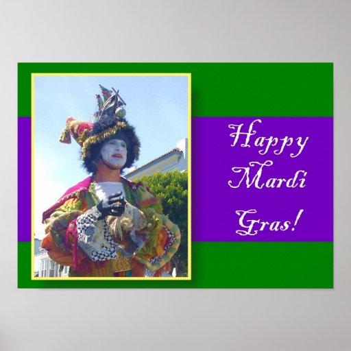 Happy Mardi Gras clown poster