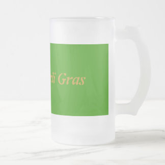 Happy Mardi Gras Frosted Glass Mug